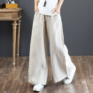 Ladies S/S Cotton Linen Big High-waisted