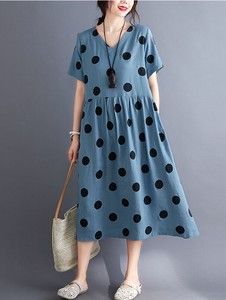 Leisurely Dot Dot Switch Short Sleeve Long One-piece Dress 2 Colors Clothing