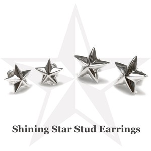 Silver 925 Star Silver Pierced Earring Pierced Earring Silicone Catch Attached