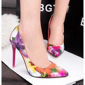 Pumps Floral Pattern High Heel