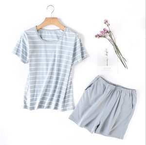 S/S Ladies Stripe Short Sleeve Top Pajama Set