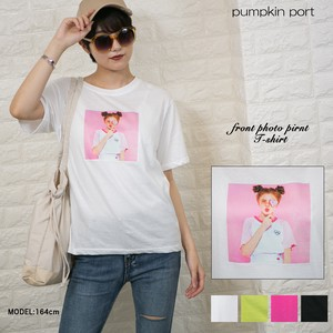 [ 2020NewItem ] Korea Cotton Front Photo Print Girl Big T-shirt