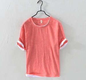 T-shirt Cut And Sewn S/S Thin Linen T-shirt Men Short Sleeve Blouse
