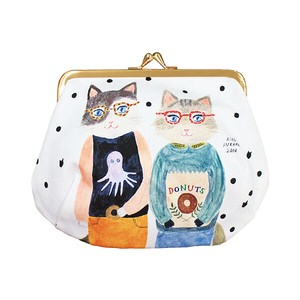 Subikiawa. Canvas Fabric Cosmetic Gamaguchi Pouch - Couple Cats
