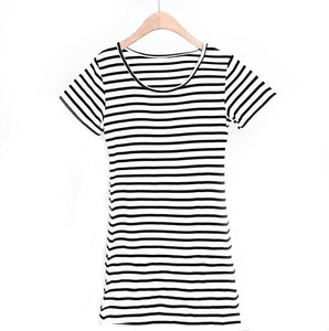 S/S Ladies Pad Attached Short Sleeve Stripe Pajama