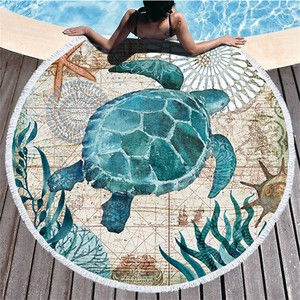 Bathing Towel Beach Pool Turtle Tassel Round Round Large Format Sofa