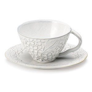 Lian Cups & Saucer White Floral Pattern Motif Mino Ware Elegant
