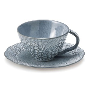 Lian Cups & Saucer Gray Floral Pattern Motif Mino Ware Elegant