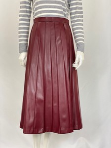 Leather Long Pleats Skirt