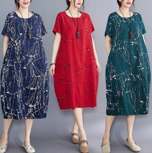 [ 2020NewItem ] Ladies Floral Pattern Leisurely Short Sleeve One-piece Dress 3 Colors