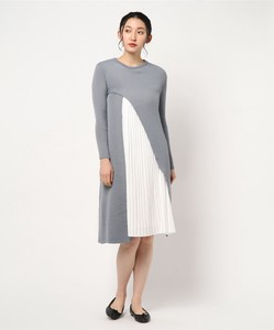 Pleats One-piece Dress Attached Knitted One-piece Dress