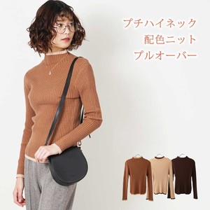A/W Color Scheme Design Petit High Neck Knitted Pullover Sweater