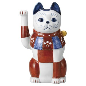 """2020 New Item"" Red Drawing Checkered Cat Beckoning cat 3.5"