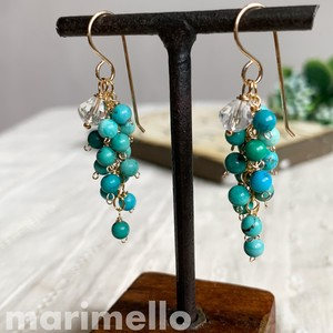 Turquoise Crystal Pierced Earring Natural stone