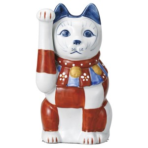 [ 2020NewItem ] Red Drawing Checkered Cat Beckoning cat 18cm