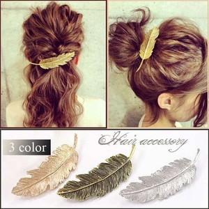 Feather Barrette Wing Hair Accessory Gold Silver