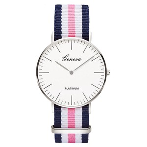 Wrist Watch Nylon Silver Dial Unisex Ladies Wrist Watch Color
