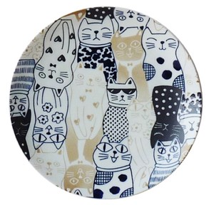 Cat Down Town Pasta Plate Mino Ware Pottery