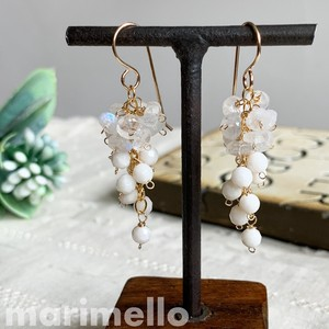 White Coral Rainbow Moon stone Pierced Earring Natural stone