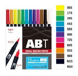 Aqueous Brush pen 12 Colors Basic