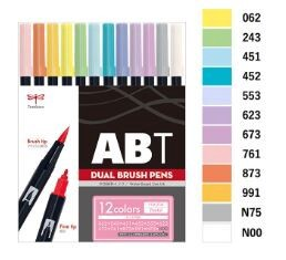 Aqueous Brush pen 12 Colors Pastel