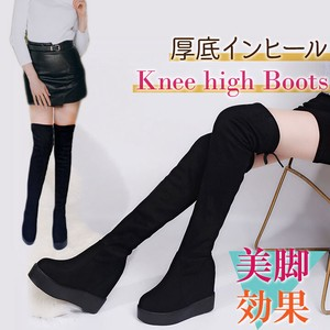 Shoe Suede Knee-high Heel Boots