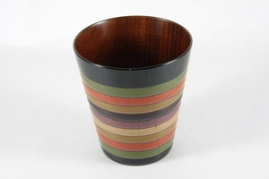 "Zelkova wooden-cup with ""Koma""( spinning top) pattern -  Black"