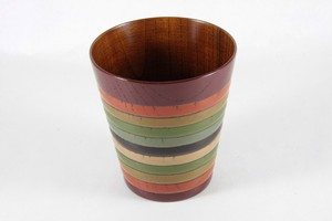 "Zelkova wooden-cup with ""Koma""( spinning top) pattern -  Vermilion"