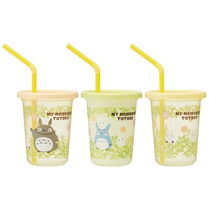My Neighbor Totoro Plants Straw Attached Tumbler 30ml 3 Pcs Set Made in Japan