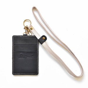 Tochigi Leather Commuter Pass Holder Case Black Strap Attached Men's Ladies Black