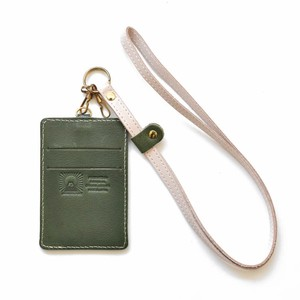 Tochigi Leather Commuter Pass Holder Case Green Strap Attached Men's Ladies Green