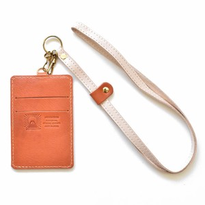 Tochigi Leather Commuter Pass Holder Case Orange Strap Attached Men's Ladies Orange