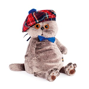 Checkered Beret Cat Soft Toy Gift Present Celebration