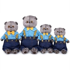 Denim Overall Cat Soft Toy Gift Present Celebration