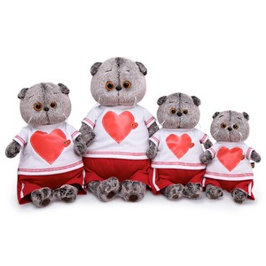 Bright Red Heart T-shirt Cat Soft Toy Gift Present Celebration