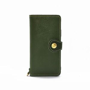 Tochigi Leather Smartphone Case Green Flap Attached Men's Ladies Green
