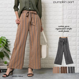 [ 2020NewItem ] Cotton Stripe Fabric Ribbon Belt Attached wide pants