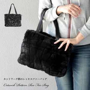 [ 2020NewItem ] Cut Work Rex Fur Bag Real Fur Genuine Leather Bag