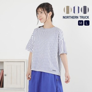 Rack Stripe Blouse Ladies Short Sleeve boat Neck