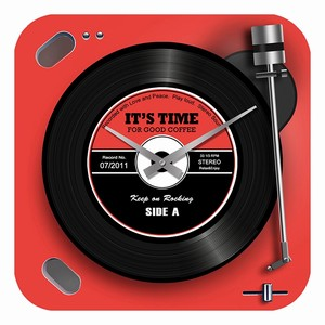 Glass Wall Clock Player RED