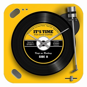 Glass Wall Clock Player YELLOW