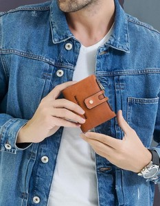 Double Fastener Men Wallet Genuine Leather Retro Cow Leather Men Bag Casual Wallet
