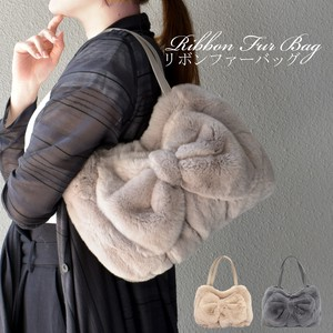 [ 2020NewItem ] Front Ribbon Rex Fur Bag Real Fur Genuine Leather Bag Rabbit Fur