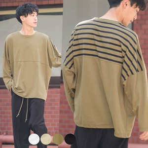 A/W Unisex Border Switching Fleece Big Long Sleeve T-shirt