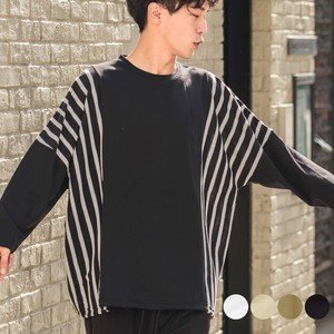 A/W Unisex Stripe Switching Fleece Big Long Sleeve T-shirt