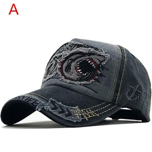 [ 2020NewItem ] Men Baseball Cap Leopard Canvas Fashion Hats & Cap Shark Embroidery Cap