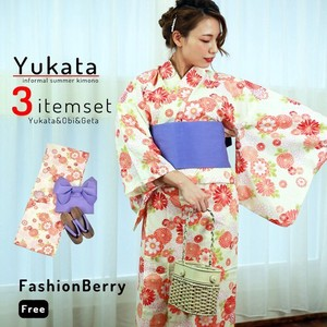 "Sold Out ""2020 New Item"" Ladies Yukata 3-unit Set Yukata Making Geta"