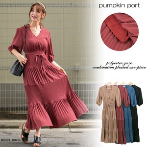 [ 2020NewItem ] Polyester Gauze Combi Pleats One-piece Dress