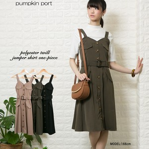Plain Twill Fabric Belt Attached Zip‐up Jacket Skirt One-piece Dress