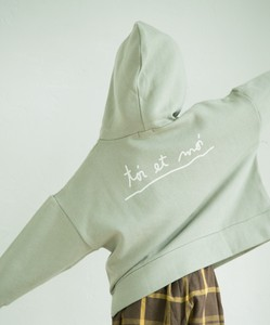 Raised Back Handwriting Print Bag Print Long Sleeve Sweat Hoody